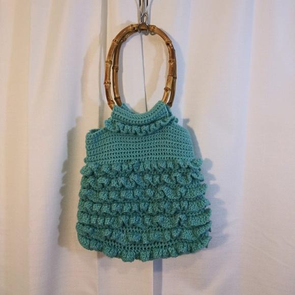 Handbags - Teal blue macrame purse with wooden handles